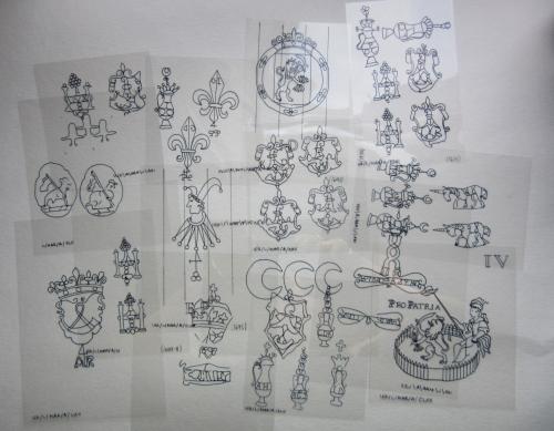 Hand tracings of the watermark designs