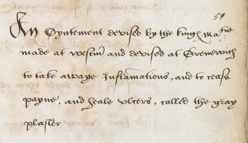The introduction to Henry VIII's 'Grey Plaster', written in brown ink