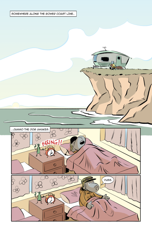 A cartoon strip of three vertical panel images, in the first a caravan is on the edge of a cliff, in the second a dog asleep in a bed, in the third the dog wakes up and sits up in bed