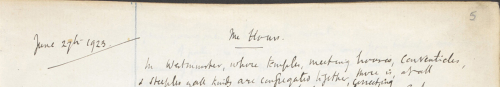 Photograh showing manuscript draft of Mrs. Dalloway by Virginia Woolf, here titled The Hours