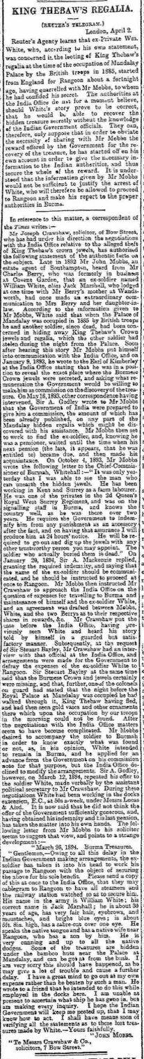 Report on the Burma regalia The Glasgow Herald 3 April 1894