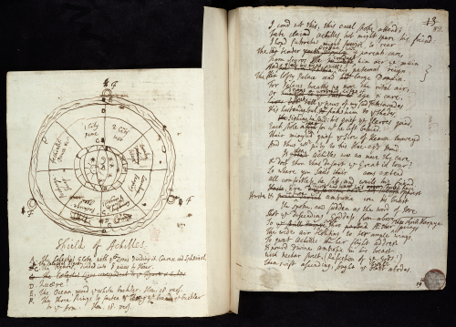 Photograph of a notebook containing a sketch of Achilles Shields by Alexander Pope