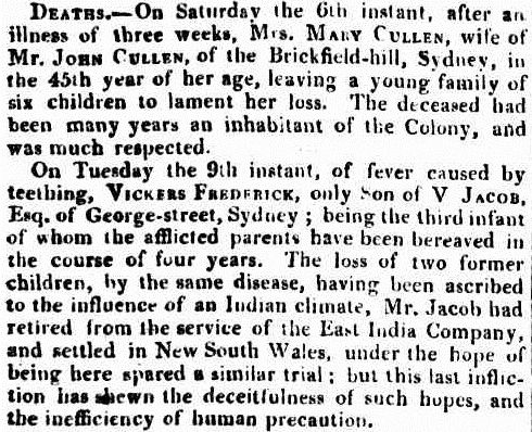 Death notice for Vickers Frederick Jacob in The Sydney Gazette 11 December 1823