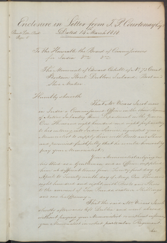 First page of Edward Cahill's memorial about Vickers Jacob's debt