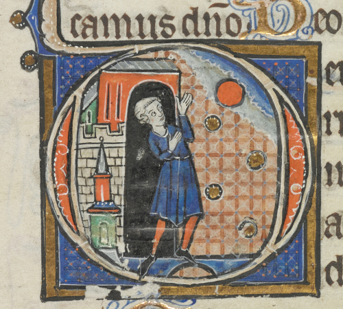 A detail from a 13th-century Book of Hours, showing an historiated initial of a man watching the sunrise from an open doorway.