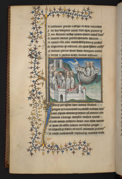 A page from a 15th-century manuscript of Statius' Thebais and Achilleis, featuring an illustration of the arrival of Ulysses and Diomedes at Scyros, with decorated borders and an initial with ivy leaves in gold, red and blue.