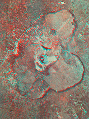 Anaglyph image of complex crater, Comoros