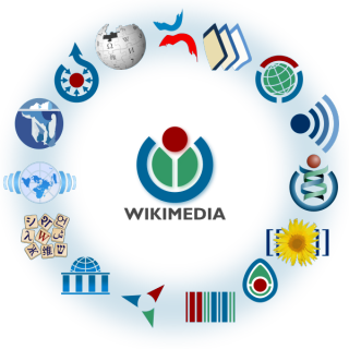 Circle of logos from the Wikimedia family of platforms