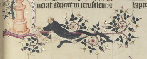 Self-portrait of John Siferwas, the artist of the manuscript, floating in the lower margin, his habit entwined around the border of roses