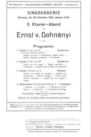 Concert programme title page from a 1909 Singakademie concert
