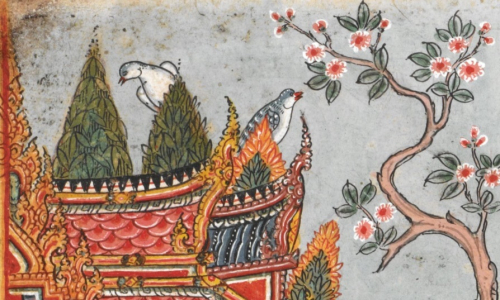 Depiction of two Mountain Imperial Pigeons (Ducula badia, นกมูม) in an illustration of the Nārada Jātaka. Central Thailand, 18th century. British Library, Or 14068 f.9