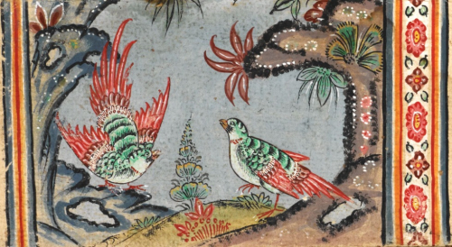 Detail from a painting depicting a natural scene with a pair of unidentified birds in a Thai folding book containing the Mahābuddhagunā and extracts from the Tipiṭaka. Central Thailand, 18th century