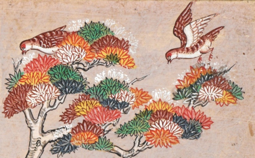 Red Turtle Doves (Streptopelia tranquebarica, นกเขาไฟ) on a possibly imaginary tree with colourful leaves in another illustration from the Suvannasāma Jātaka. Central Thailand, 18th century. British Library, Or 14068 f.5