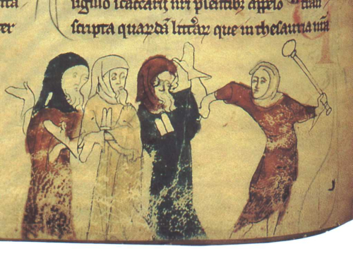 Marginal miniature showing the expulsion of the Jews. Chronicle of Rochester Cathedral Priory. England, c.1100-c.1650 (Cotton MS Nero D II, f. 183v)