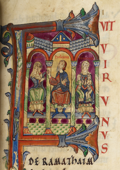 A detail from the Rochester Bible, showing a historiated initial of Elkanah and his wives Hannah and Peninnah.
