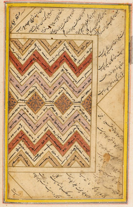 A page featuring text in Uyghur script inside multicultural angular waves, and text in Arabic script in the margins