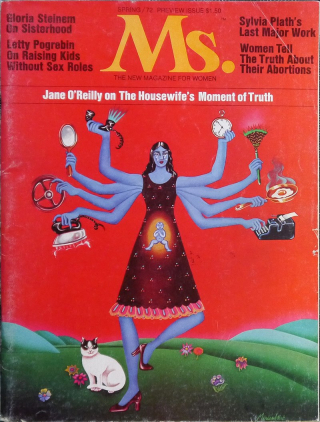 Cover for Spring 1972 edition of Ms. showing a version of the Hindu goddess, Kali, using her eight arms to tackle house-wifely duties including cooking, ironing and cleaning