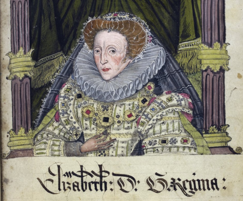 A portrait of a woman, representing Queen Elizabeth I, wearing a yellow dress, and a golden crown and necklace with gemstones in different colours