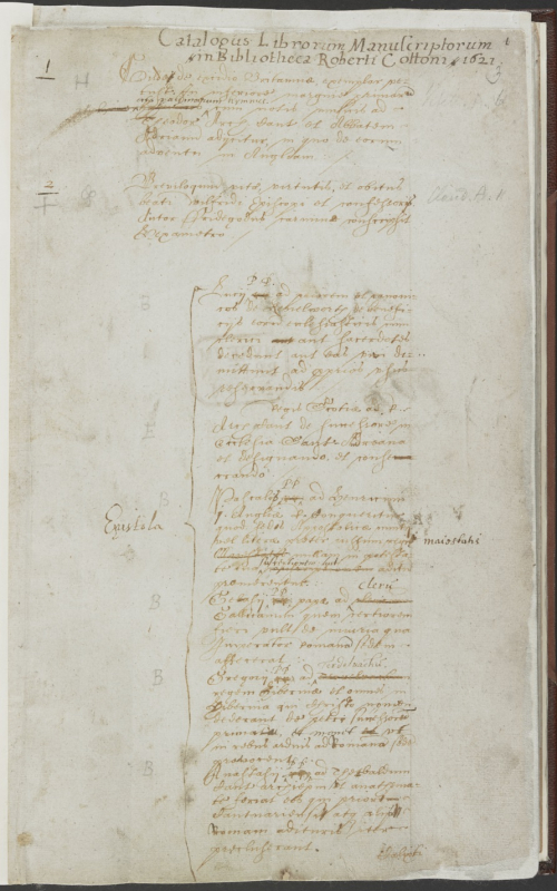 The first page of the catalogue of Cotton charters