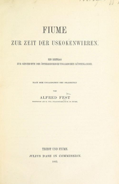 Title page of 'Fiume zur Zeit der Uskokenwirren'