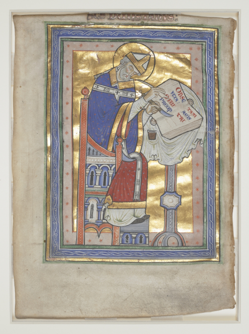 An author portrait of St Dunstan writing at a desk, holding a quill pen and knife, with a background made of gold leaf