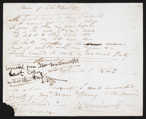 Autograph fair copy, with one correction, of 'A Poem of Childhood,' by William Wordsworth, 1842. British Library, Ashley MS 2264. © Public Domain.