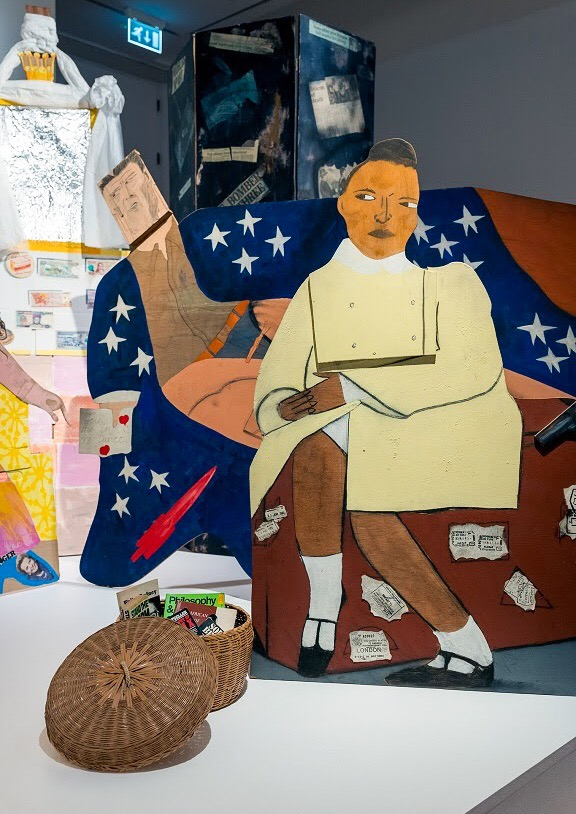 Detail of 'A Fashionable Marriage' (1986) by Lubaina Himid. Photo credit: David Perry