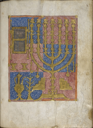 Temple implements. Harley Catalan Bible  Catalonia  Spain  14th century (Harley MS 1528  f.7v)