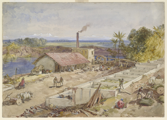 Indigo Factory Bengal, 1863, showing layout and work on different processes