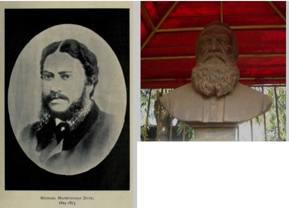 Portrait of Michael Madhusudan Dutt and bust of James Long in Kolkata