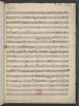 Opening page from Felix Mendelssohn's String Quartet in E flat.