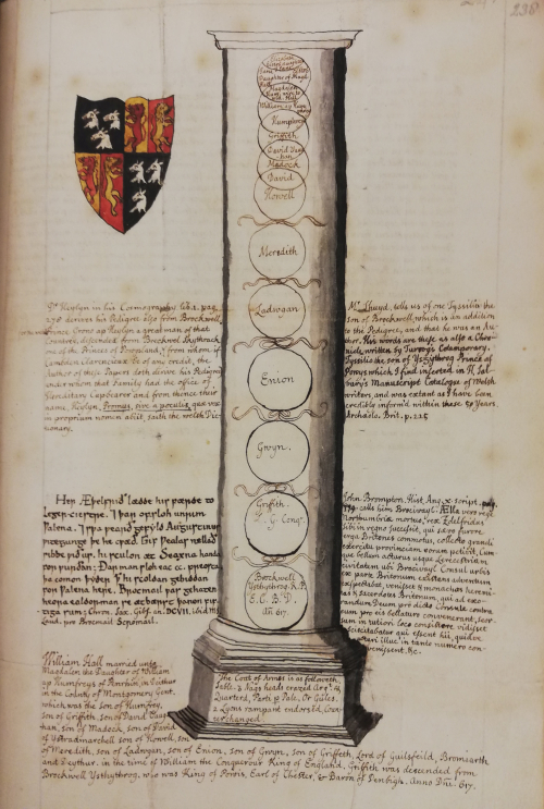 A drawing of a Roman pillar, including roundels with the names of Elizabeth Elstob's mother's ancestors. Next to the pillar are citations from historical sources in Latin and Old English, and a coat of arms in colours