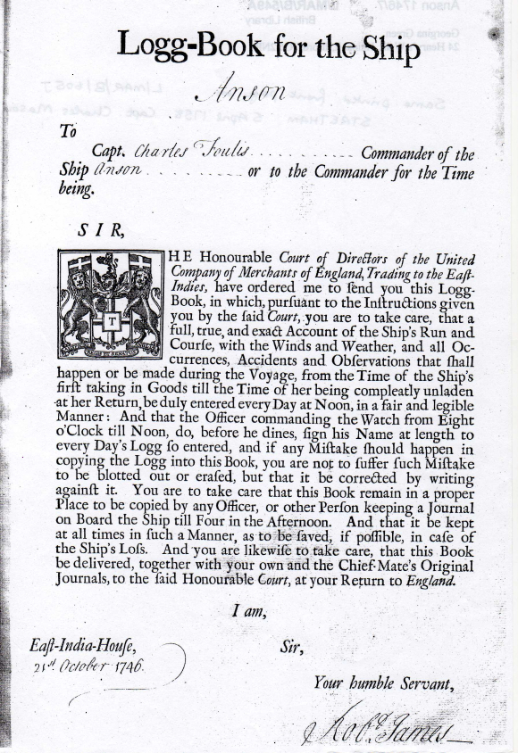 Introductory page of the journal and log of the Anson 1746