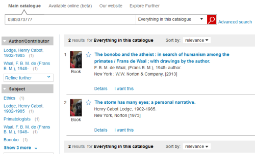 A screen grab of the main catalogue showing a search for ISBN 0393073777 with the above two results