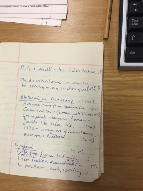 photograph of a notebook containing plan outline of a lecture for receipt of Neil Gunn Fellowship in Edinburgh 1979 given by Ruth PrawerJhabvala