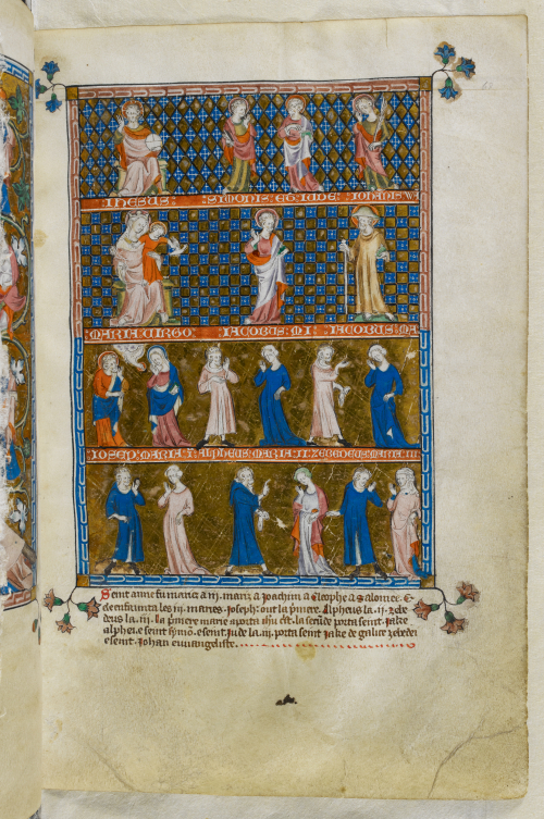 A page from the Queen Mary Psalter, featuring an illustration of the Holy Kinship on multiple registers.