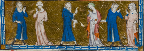 A detail from the Holy Kinship miniature in the Queen Mary Psalter, showing St Anne and her husbands.