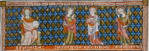 A detail from the Holy Kinship miniature in the Queen Mary Psalter, showing the figures of Christ and Sts Simon, Jude, and John the Evangelist.
