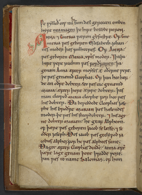 A page from a 12th-century English miscellany, featuring he earliest known account of the Holy Kinship written in Old English.