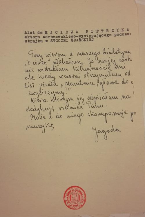 Jagoda's letter to Maciej Pietrzyk