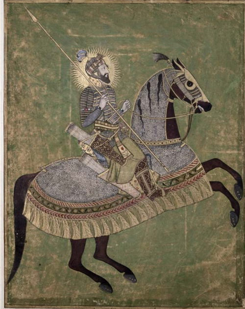 Portrait of Aurangzeb on a horse