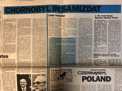 Pages from Ukrainian Peace Committee News, no. 2 with the headline 'Chornobyl in Samizdat'