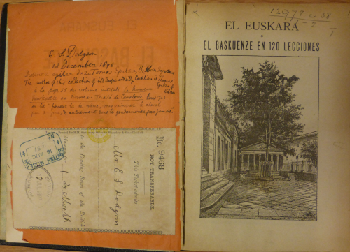 Title page of Euskara o el baskuenze en 120 lecciones with Dodgson's British Museum Library reader's ticket