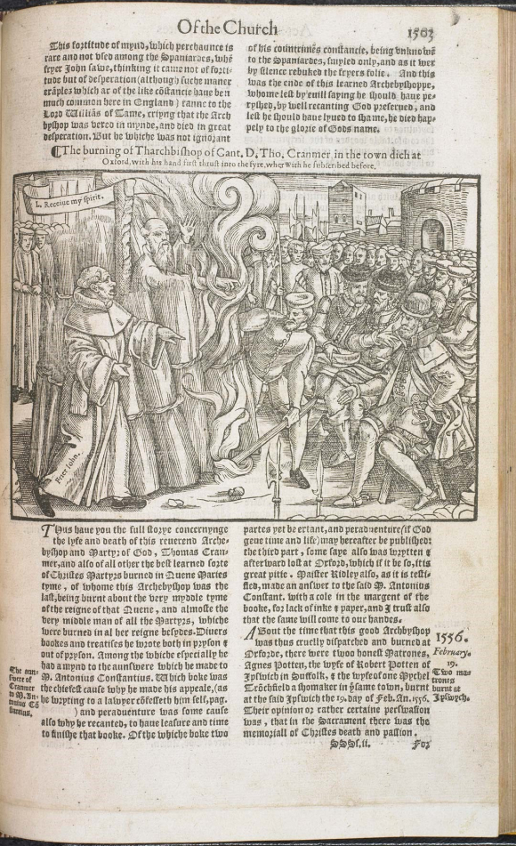 Illustration showing the burning of Thomas Cranmer at Oxford from John Foxe's Book of Martyrs