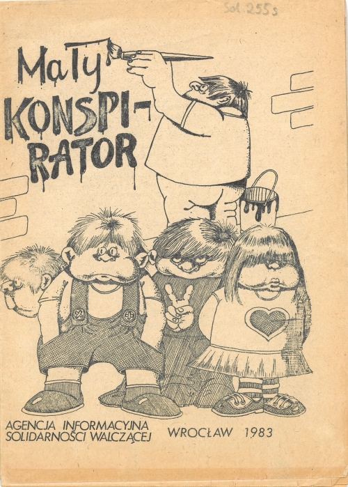 Cover of Mały konspirator drawn in cartoon style. One figure is painting the title on a wall while four others stand watch