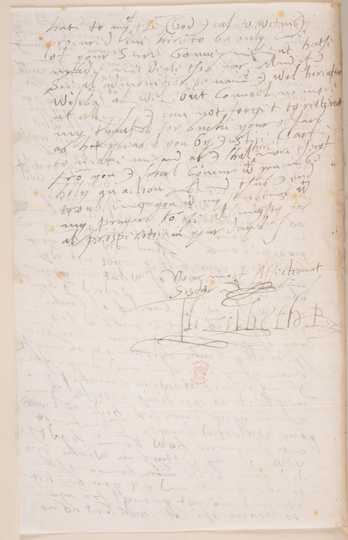 The reverse of a letter from Elizabeth I to James VI, featuring the queen's signature.
