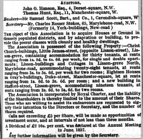 Advert promoting the work of the Marylebone Association for Improving the Dwellings of the Industrious Classes from Marylebone Mercury 10 July 1858 - properties owned with rents