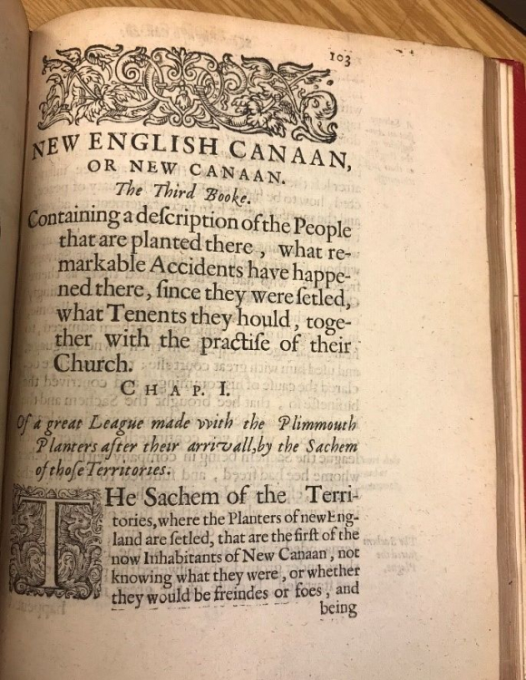 Page from Thomas Morton's New English Canaan