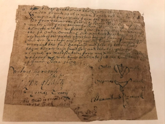 Deed showing the purchase and transfer of lands from Sachem Uncas, of the Mohegan tribe, to English colonists.