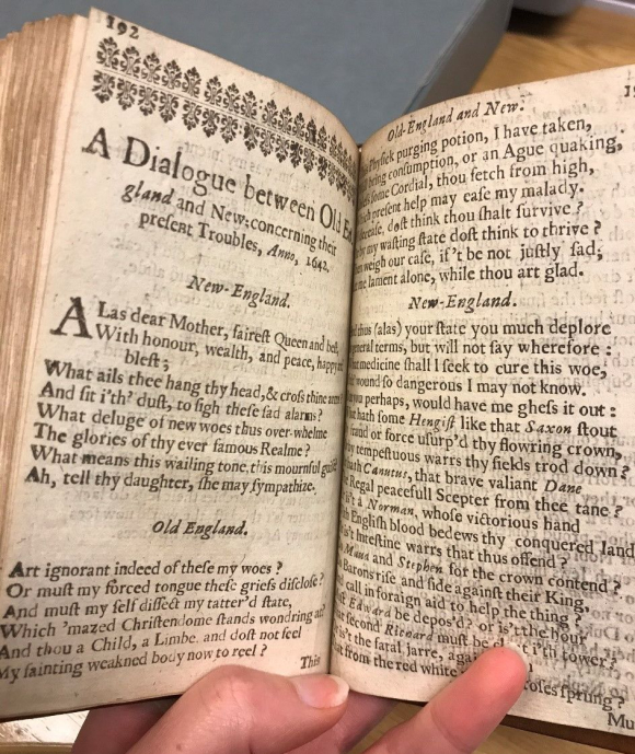 Open copy of Anne Bradstreet's Several Poems…by a Gentlewoman in New-England